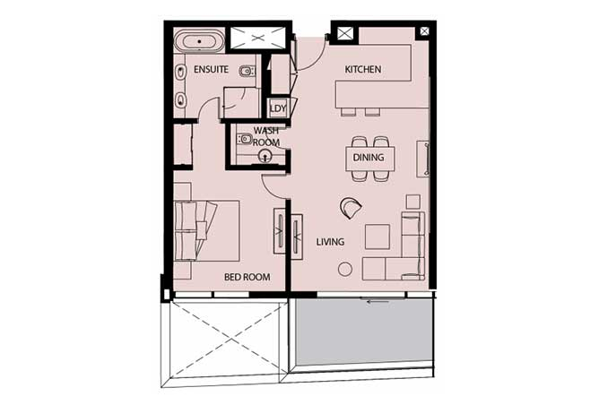 Mayan Floor Plan 1 Bedroom Apartment Type 1c 936 Sqft 1