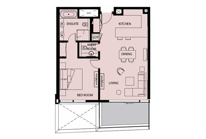 Mayan Floor Plan 1 Bedroom Apartment Type 1c 936 Sqft 1