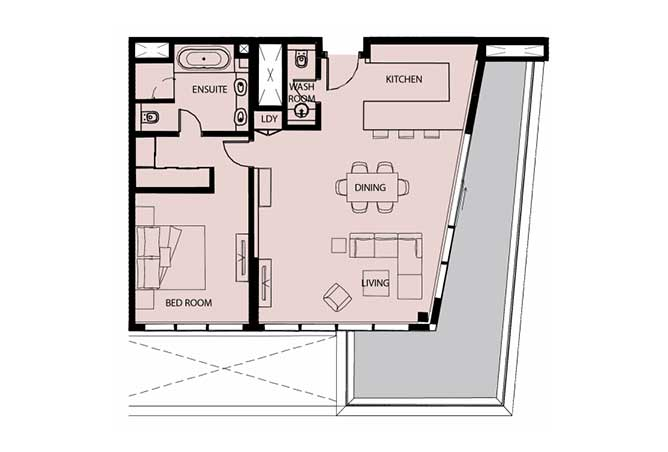 Mayan Floor Plan 1 Bedroom Apartment Type 1g 1 1278 Sqft 1