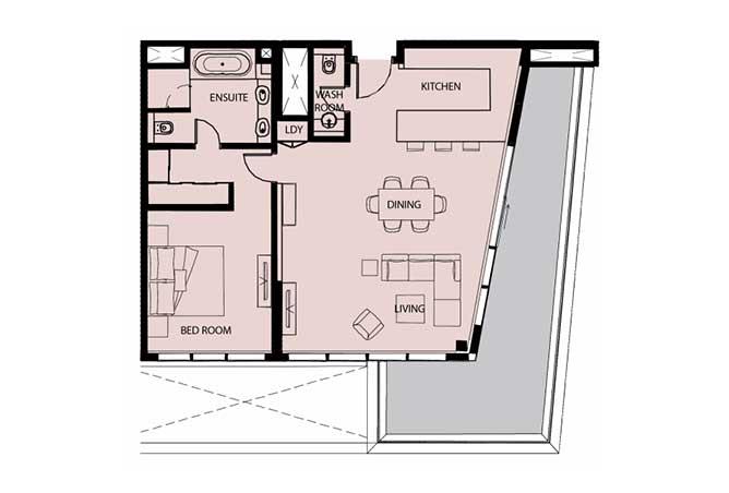 Mayan Floor Plan 1 Bedroom Apartment Type 1g 1 1278 Sqft 1