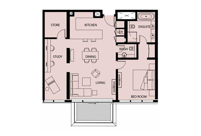 Mayan Floor Plan 1 Bedroom Apartment Type 1m 1151 Sqft 1