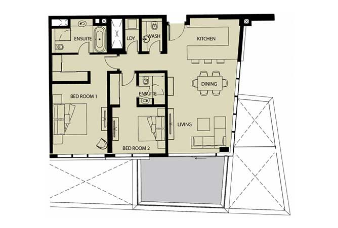 Mayan Floor Plan 2 Bedroom Apartment Type 2a 1357 Sqft 1