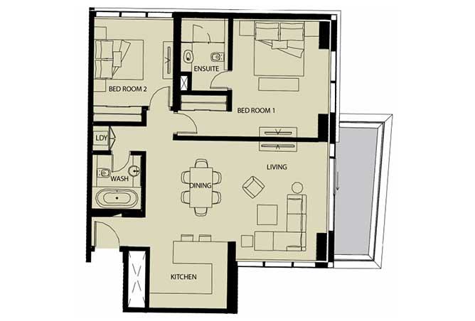 Mayan Floor Plan 2 Bedroom Apartment Type 2b 1232 Sqft 1
