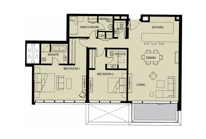 Mayan Floor Plan 2 Bedroom Apartment Type 2k 1 1545 Sqft 1