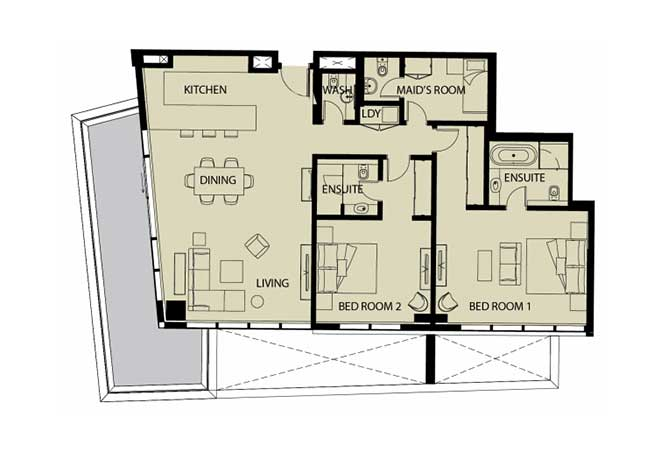 Mayan Floor Plan 2 Bedroom Apartment Type 2k 2 1843 Sqft 1