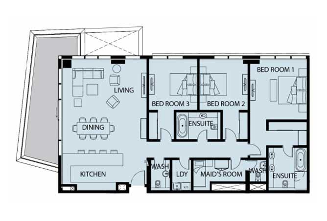 Mayan Floor Plan 3 Bedroom Apartment Type 3d 2179 Sqft 1
