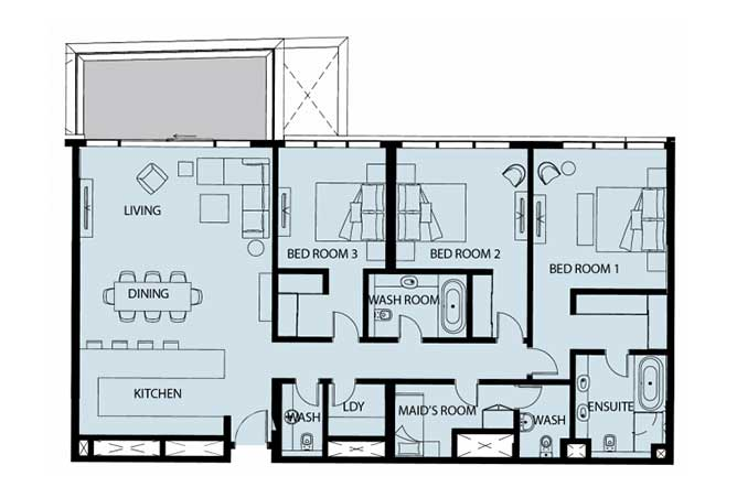 Mayan Floor Plan 3 Bedroom Apartment Type 3g 2128 Sqft 1