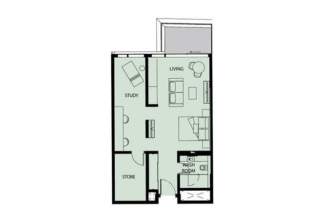 Mayan Floor Plan Studio Flat Type s12 761 Sqft 1