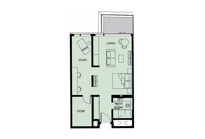 Mayan Floor Plan Studio Flat Type s12 761 Sqft 1