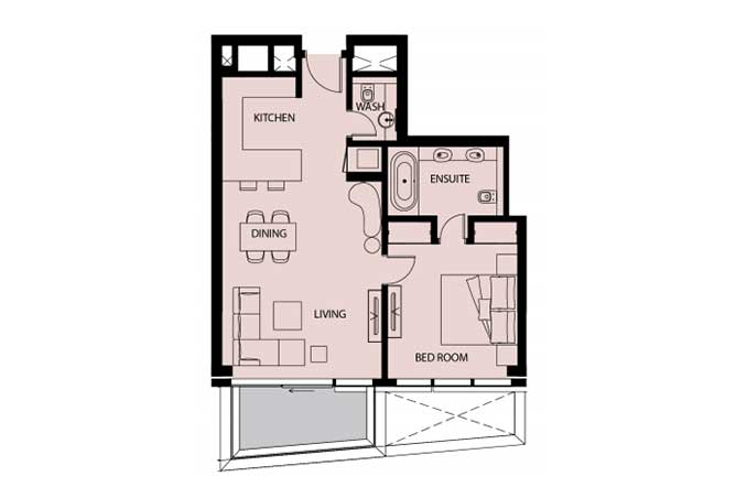 Mayan Floor Plan 1 Bedroom Apartment 1b 872 Sqft