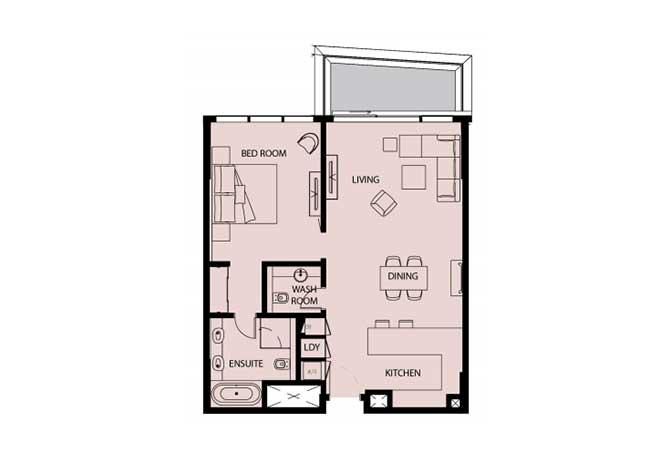 Mayan Floor Plan 1 Bedroom Apartment 1c 1007 Sqft