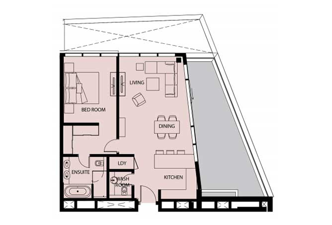 Mayan Floor Plan 1 Bedroom Apartment 1g 2 1158 Sqft