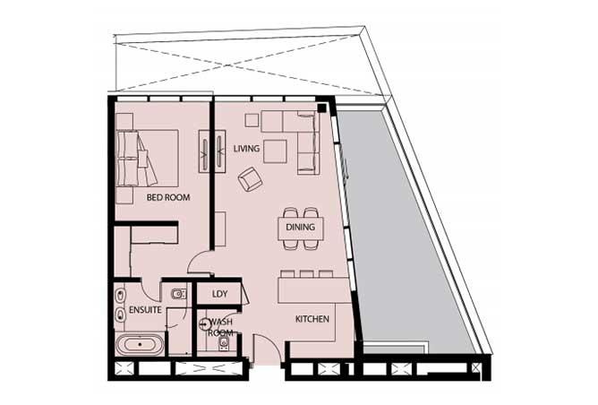 Mayan Floor Plan 1 Bedroom Apartment 1g 2 1158 Sqft