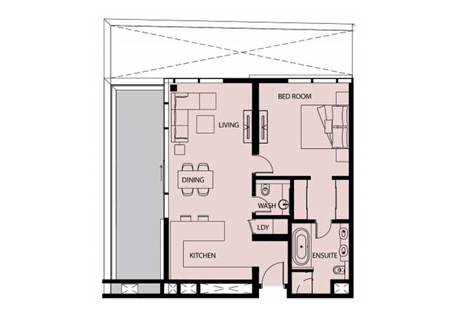 Mayan Floor Plan 1 Bedroom Apartment 1g 3 1117 Sqft
