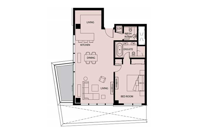 Mayan Floor Plan 1 Bedroom Apartment 1h 1 1110 Sqft