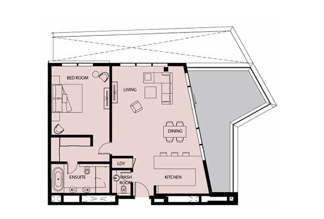 Mayan Floor Plan 1 Bedroom Apartment 1k 1397 Sqft