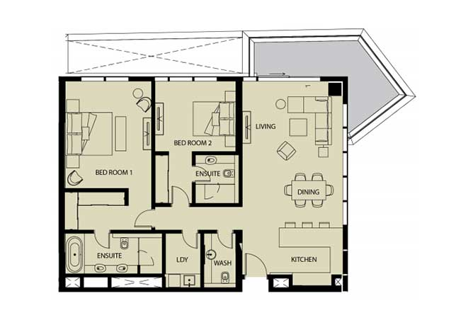 Mayan Floor Plan 2 Bedroom Apartment 2h 1 1621 Sqft