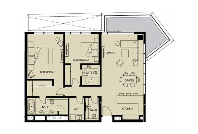 Mayan Floor Plan 2 Bedroom Apartment 2h 1 1621 Sqft