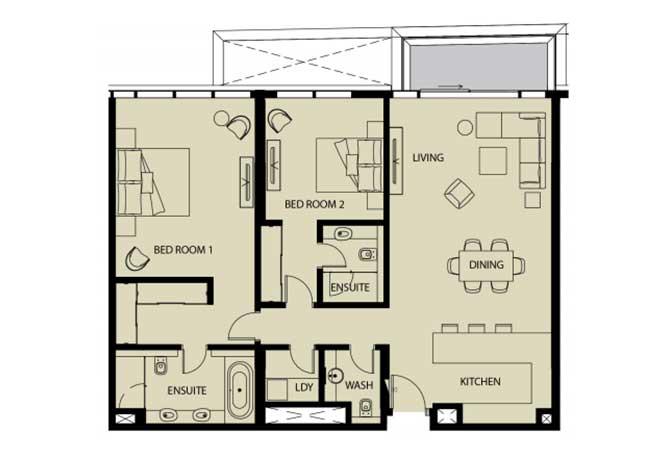Mayan Floor Plan 2 Bedroom Apartment 2h 1461 Sqft
