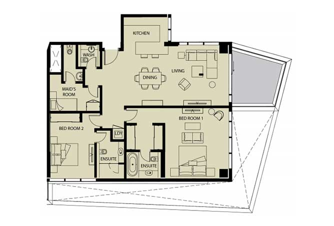 Mayan Floor Plan 2 Bedroom Apartment 2o 1626 Sqft