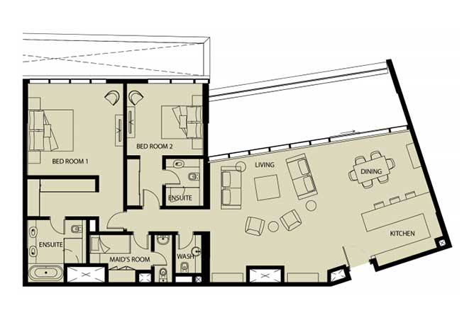 Mayan Floor Plan 2 Bedroom Apartment 2q 1976 Sqft