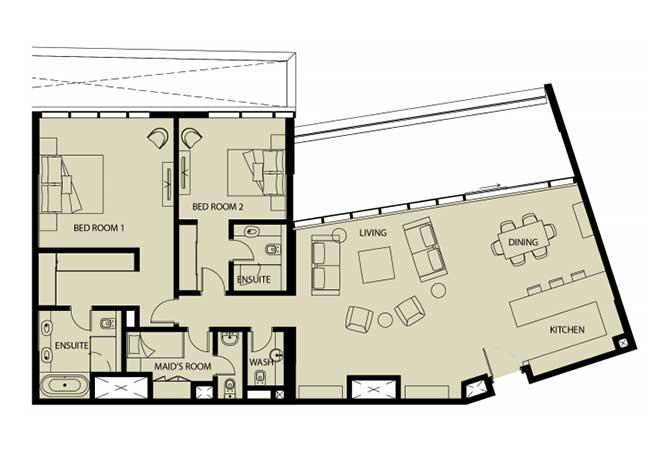 Mayan Floor Plan 2 Bedroom Apartment 2q 1976 Sqft