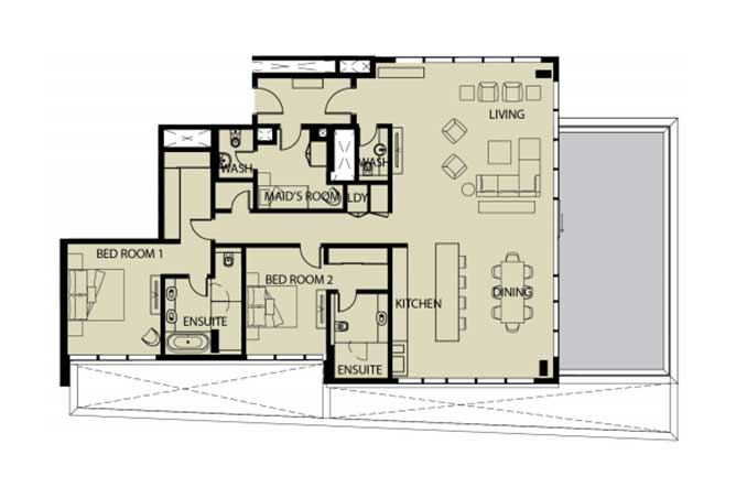 Mayan Floor Plan 2 Bedroom Apartment 2r 2420 Sqft