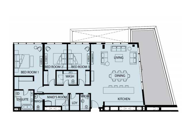 Mayan Floor Plan 3 Bedroom Apartment 3b1 2390 Sqft