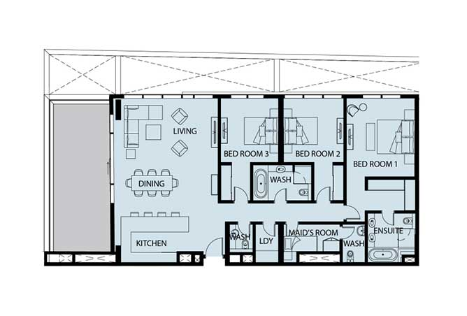 Mayan Floor Plan 3 Bedroom Apartment 3c 2243 Sqft
