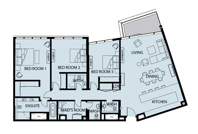Mayan Floor Plan 3 Bedroom Apartment 3h 2090 Sqft