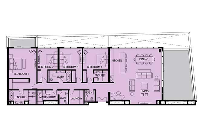 Mayan Floor Plan 4 Bedroom Apartment 4f 3397 Sqft