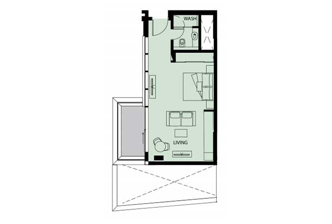 Mayan Floor Plan Studio Flat s11 529 Sqft