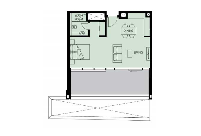 Mayan Floor Plan Studio Flat s9 812 Sqft