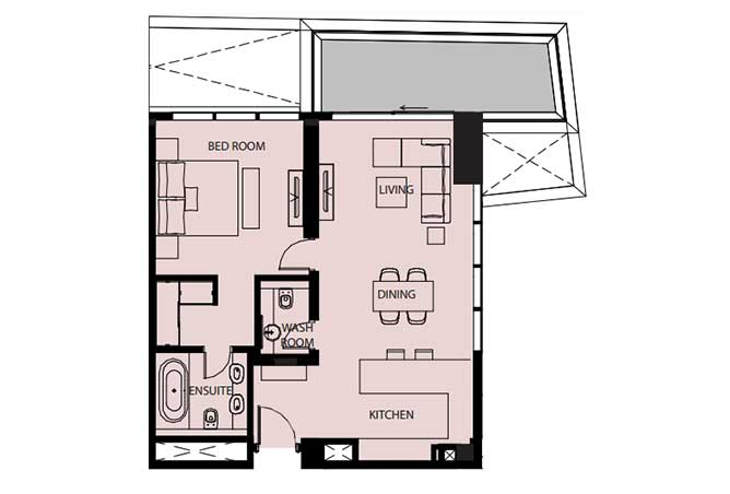 Mayan Floor Plan 1 Bedroom Flat 1d 1 1005 Sqft