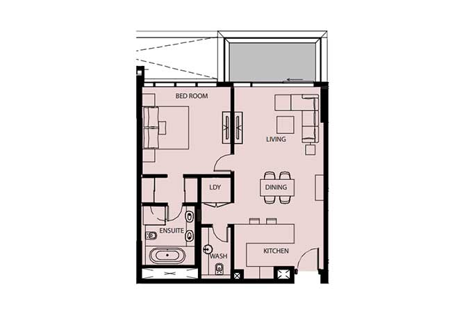 Mayan Floor Plan 1 Bedroom Flat 1f 969 Sqft