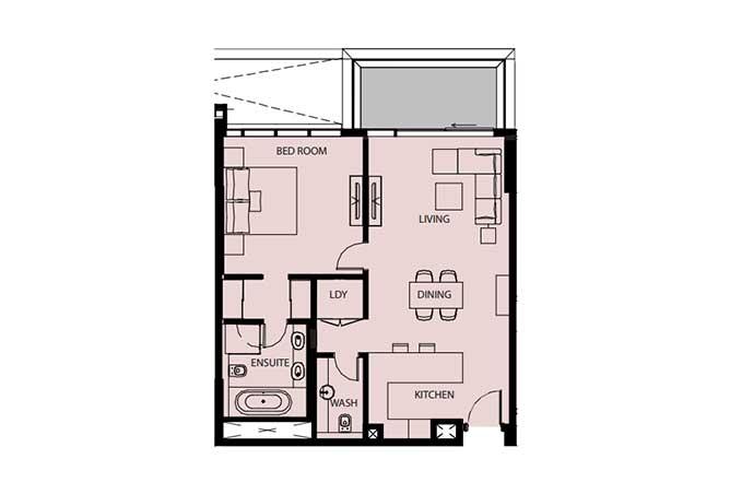 Mayan Floor Plan 1 Bedroom Flat 1f 969 Sqft