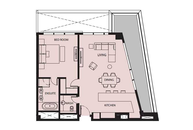 Mayan Floor Plan 1 Bedroom Flat 1g 1210 Sqft