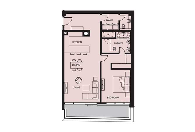 Mayan Floor Plan 1 Bedroom Flat 1o 1264 Sqft