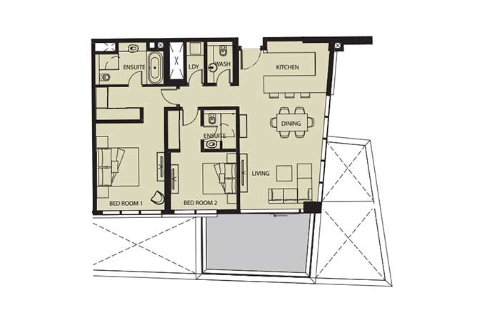 Mayan Floor Plan 2 Bedroom Flat 2a 1389 Sqft