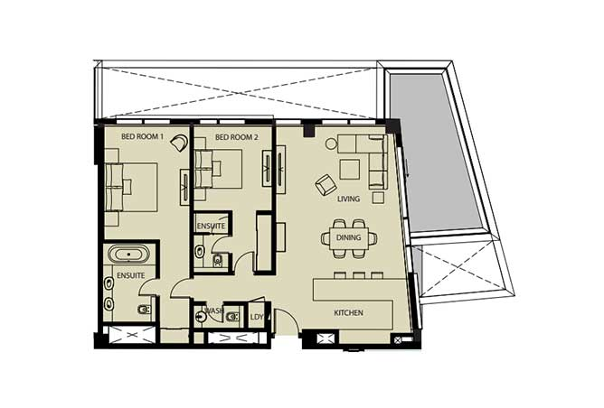 Mayan Floor Plan 2 Bedroom Flat 2f 1 1445 Sqft