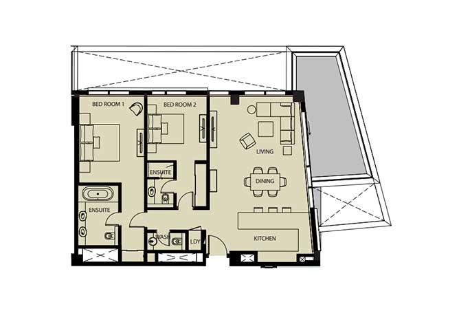 Mayan Floor Plan 2 Bedroom Flat 2f 1 1445 Sqft