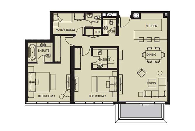 Mayan Floor Plan 2 Bedroom Flat 2j 1443 Sqft