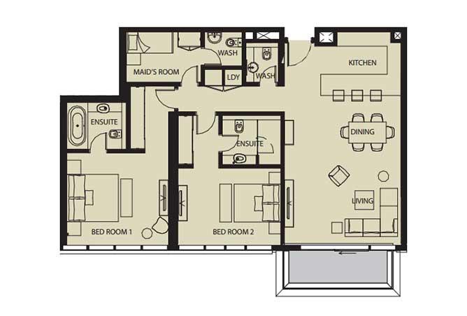 Mayan Floor Plan 2 Bedroom Flat 2j 1443 Sqft
