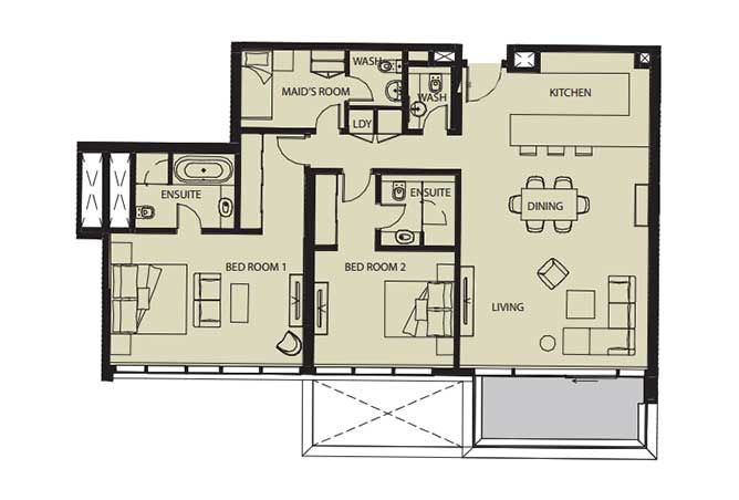 Mayan Floor Plan 2 Bedroom Flat 2k 1 1548 Sqft