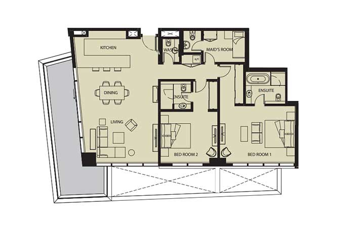 Mayan Floor Plan 2 Bedroom Flat 2k 2 1800 Sqft