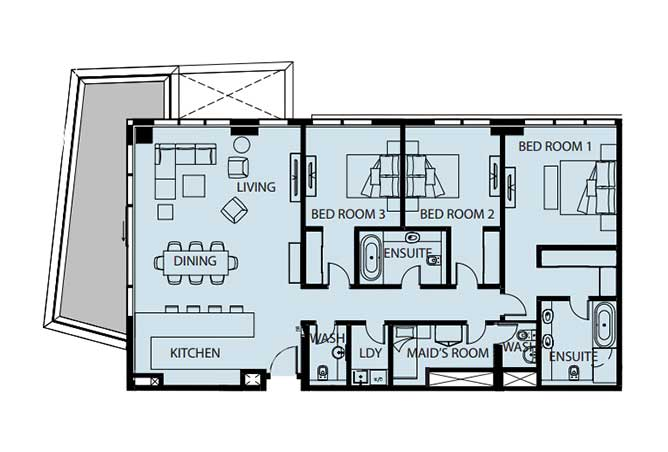 Mayan Floor Plan 3 Bedroom Flat 3d 2216 Sqft