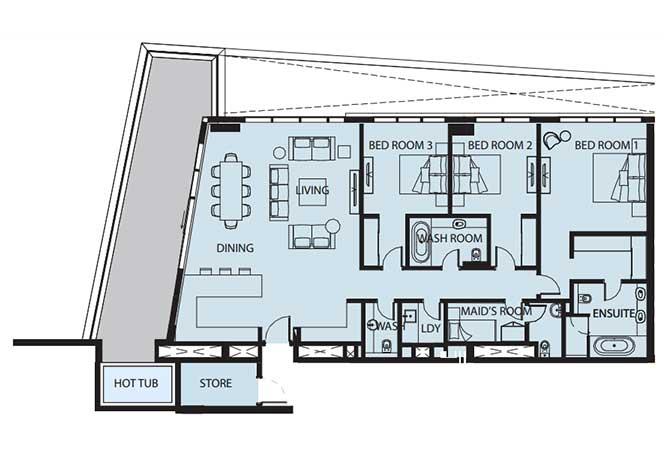 Mayan Floor Plan 3 Bedroom Flat 3f 2450 Sqft