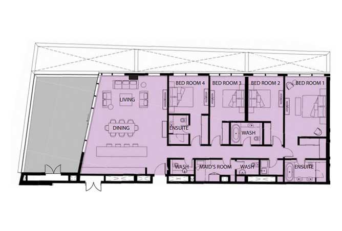 Mayan Floor Plan 4 Bedroom Flat 4d 2772 Sqft