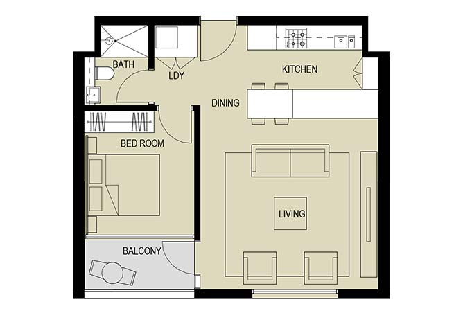 Meera Towers Floor Plan 1 Bedroom Apartment Type a 688