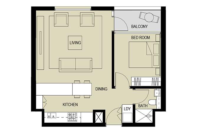 Meera Towers Floor Plan 1 Bedroom Apartment Type b 680